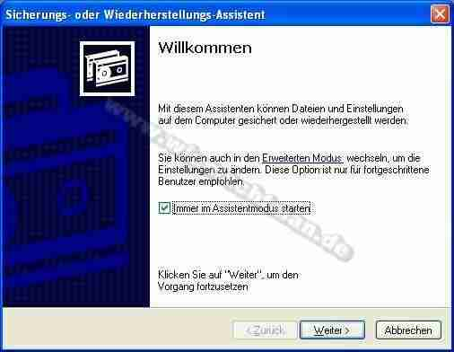 Backup erstellen mit Windows XP