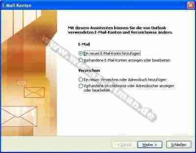 Email einrichten in Outlook